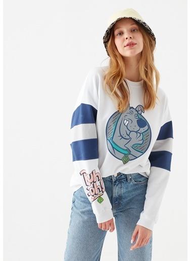 Mavi Scooby Doo Baskılı  Sweatshirt Beyaz